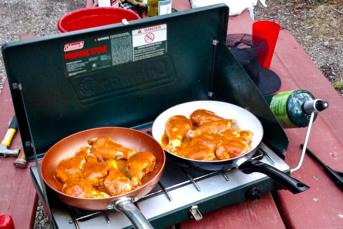 coleman stove for cooking while camping